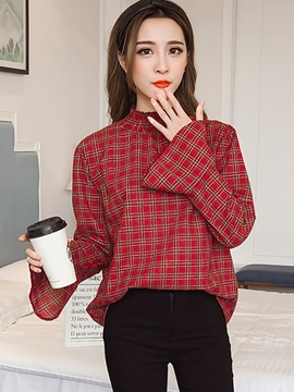 Ericdress Plaid Stand Collar Flare Sleeve Knitwear