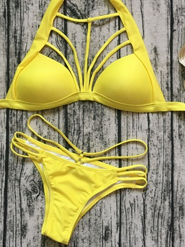 Ericdress Plain Hollow Bandage Bikini Set