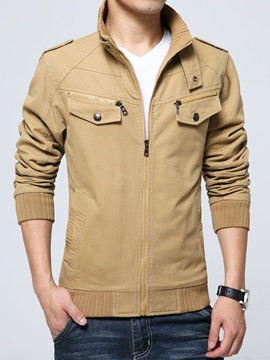 Ericdress Stand Collar Patchwork Pocket Men's Jacket