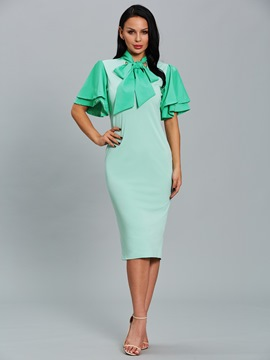 Ericdress Ruffle Bowknot Collar Plain Sheath Dress