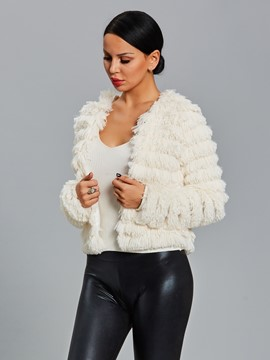 Ericdress Plain Faux Fur Vintage Jacket