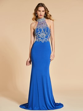 Ericdress High Neck Beaded Mermaid Evening Dress