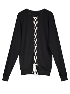 Ericdress Loose Plain Lace-Up Pullover Women's Hoodie