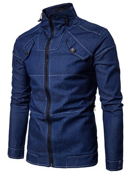 Ericdress Stand Collar Slim Patchwork Men's Denim Jacket