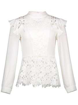 Ericdress Stand Collar Lace Appliques Blouse