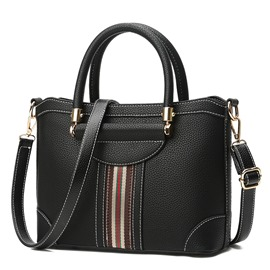 Casual Color Block Stripe Zipper Women Handbag