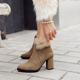 Ericdress Fashion Fur Decorated Chunky Heel Boots