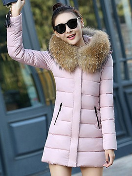Ericdress Slim Zipper Fur Mid-Length Coat
