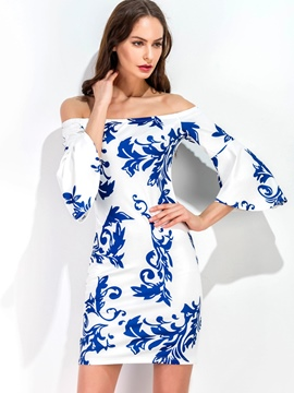 Ericdress Slash Neck Print Flare Sleeve Bodycon Dress