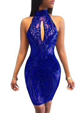 Ericdress Hollow Backless Sequin Above Knee Bodycon Dress