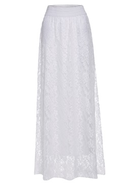 Elastic Waist Plain Lace Floor-Length Women's Skirt