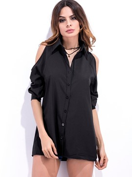 Ericdress Plain Cold Shoulder Single-Breasted Blouse