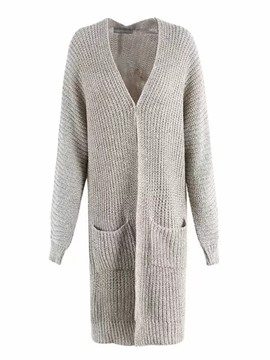Ericdress Plain V-Neck Long Cardigan Knitwear