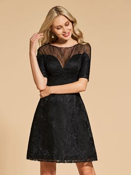 Ericdress Short Knee Length A Line Half Sleeve Lace Cocktail Dress Attire