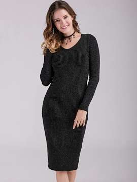 Ericdress V-Neck Long Sleeve Sweater Bodycon Dress