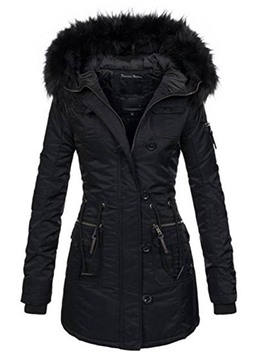 Ericdress Plain Mid-Length Slim Hooded Women's Coat