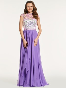 Ericdress A Line High Neck Cap Sleeve Beaded Backless Prom Dress