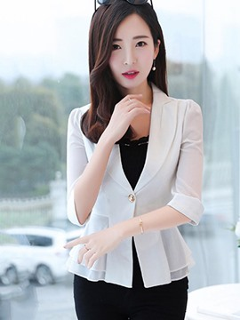Ericdress Plain One Button Half Sleeve Blazer
