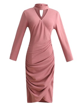 Ericdress Long Sleeve Pleated Bodycon Dress
