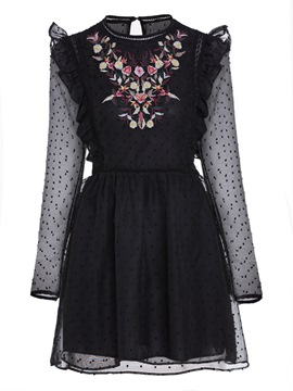 Ericdress Round Neck Floral Embroideried Women's Day Dress