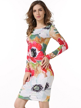 Ericdress Floral Print Scoop Long Sleeve Above Knee Bodycon Dress
