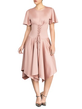 Ericdress Asymmetric Lace-Up Casual Dusty Rose Dress