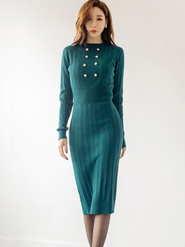 Ericdress Thread Burron Long Sleeve Sheath Sweater Dress
