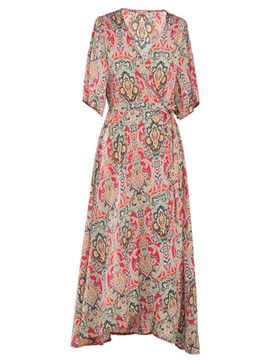 Ericdress Lace-Up Print V-Neck Half Sleeve Maxi Dress