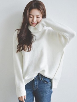 Ericdress Loose High Neck Plain Knitwear