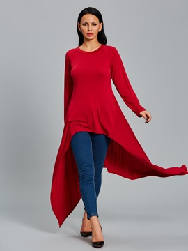 ericdress mince t-shirt asymétrique long uni