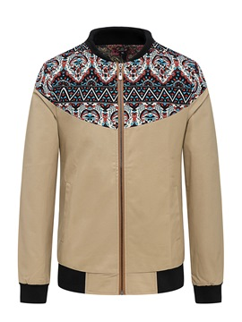 Ericdress Stand Collar Print Vintage Men's Jacket