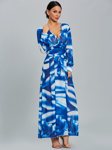 Ericdress Print V-Neck See-Through Maxi Dress