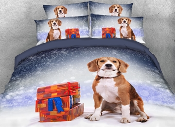 Vivilinen 3D Cute Dog with Presents Snowy Christmas Night Printed 4-Piece Bedding Sets/Duvet Covers
