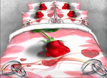 Vivilinen 3D Red Rose and Couple Rings Printed 4-Piece Bedding Sets/Duvet Covers
