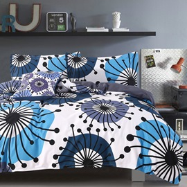 Adorila 60S Brocade Flying Dandelion Pattern 4-Piece Cotton Bedding Sets/Duvet Cover