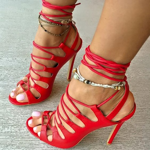 Ericdress Red Open Toe Lace-Up Stiletto Sandals