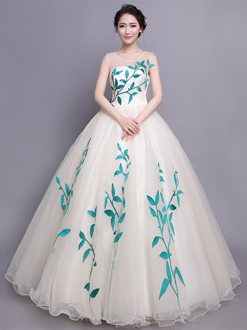 Ericdress Scoop Appliques Sleeveless Ball Quinceanera Dress