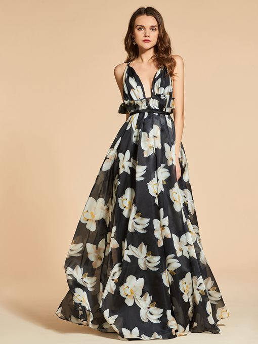 Ericdress A Line Floral Printing Evening Dress 2019