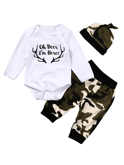 Ericdress Letter Print Camouflage Unisex Baby's 3-Pcs Outfit
