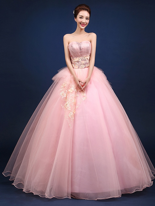 Ericdress Sweetheart Appliques Flowers Ball Quinceanera Dress