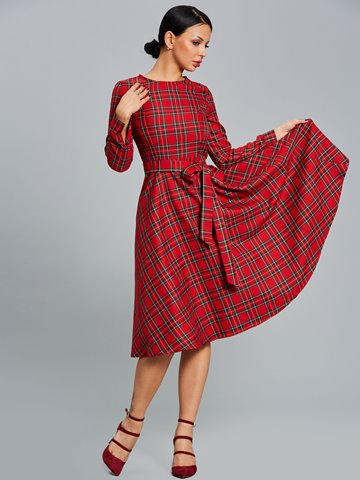 Ericdress Plaid Scoop Expansion A Line Dress