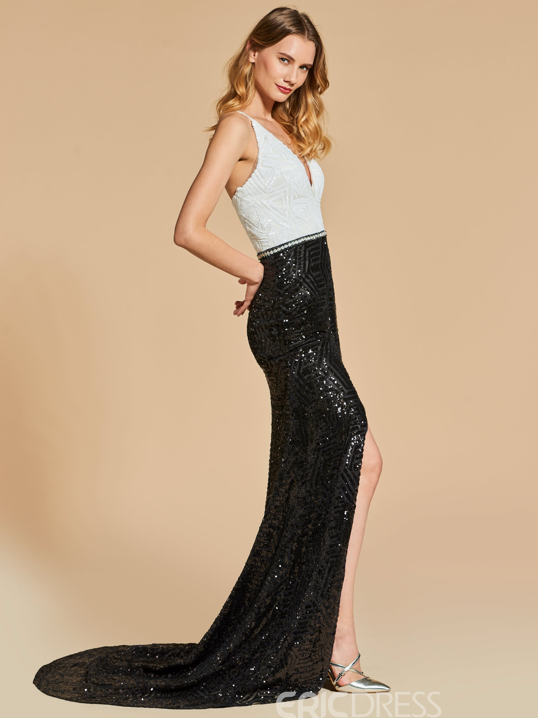 Ericdress V Neck Sequin Black and White Mermaid Evening Dress With Side Slit 13099478