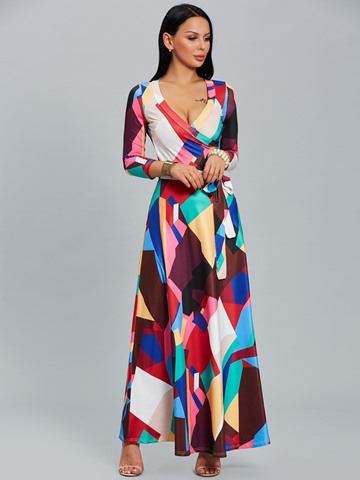 Ericdress Nine Points Sleeves Color Block Maxi Dress