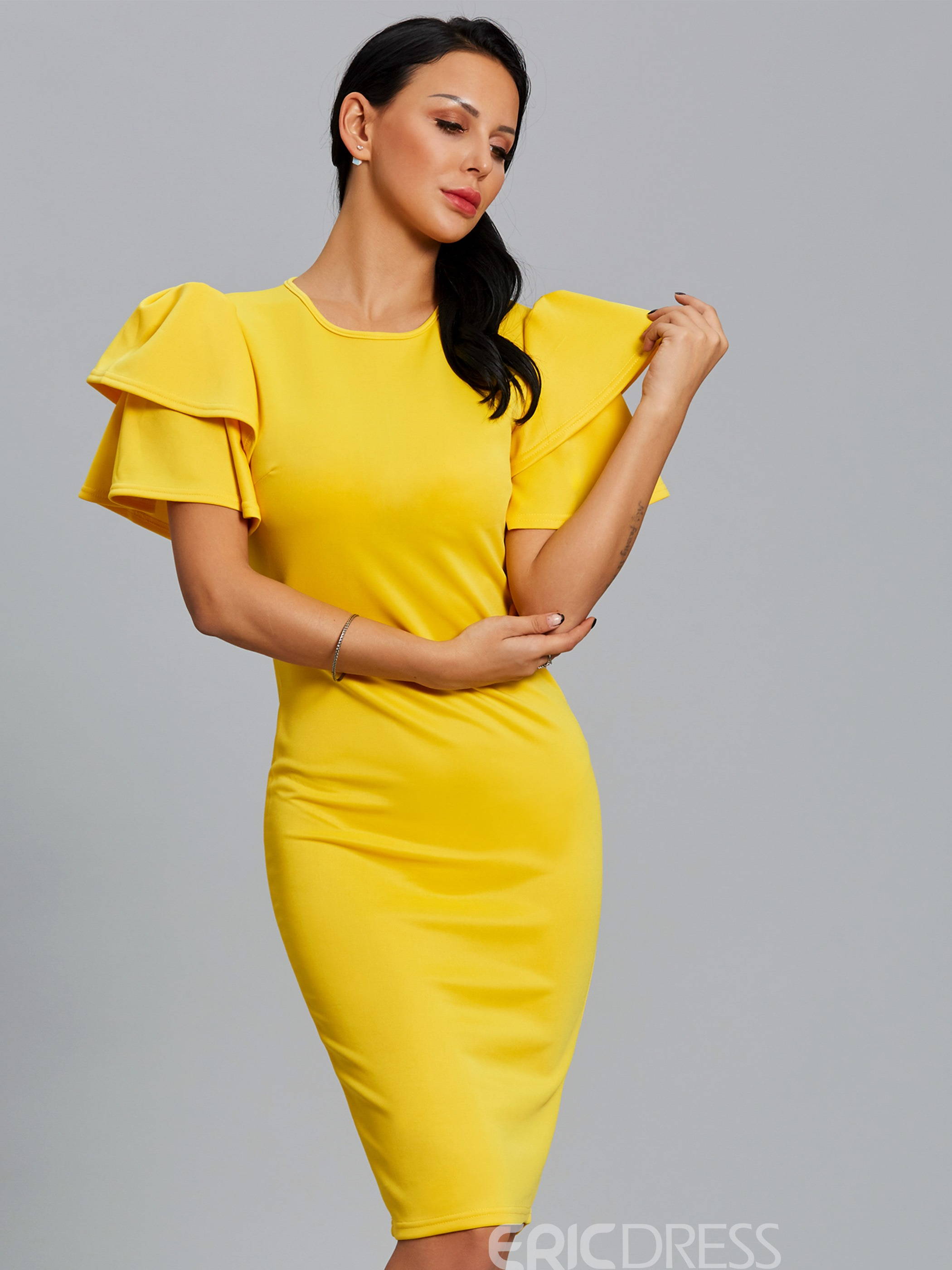 1839dc69fa16 Ericdress Solid Color Puff Sleeve Zipper Bodycon Dress 12913968 ...