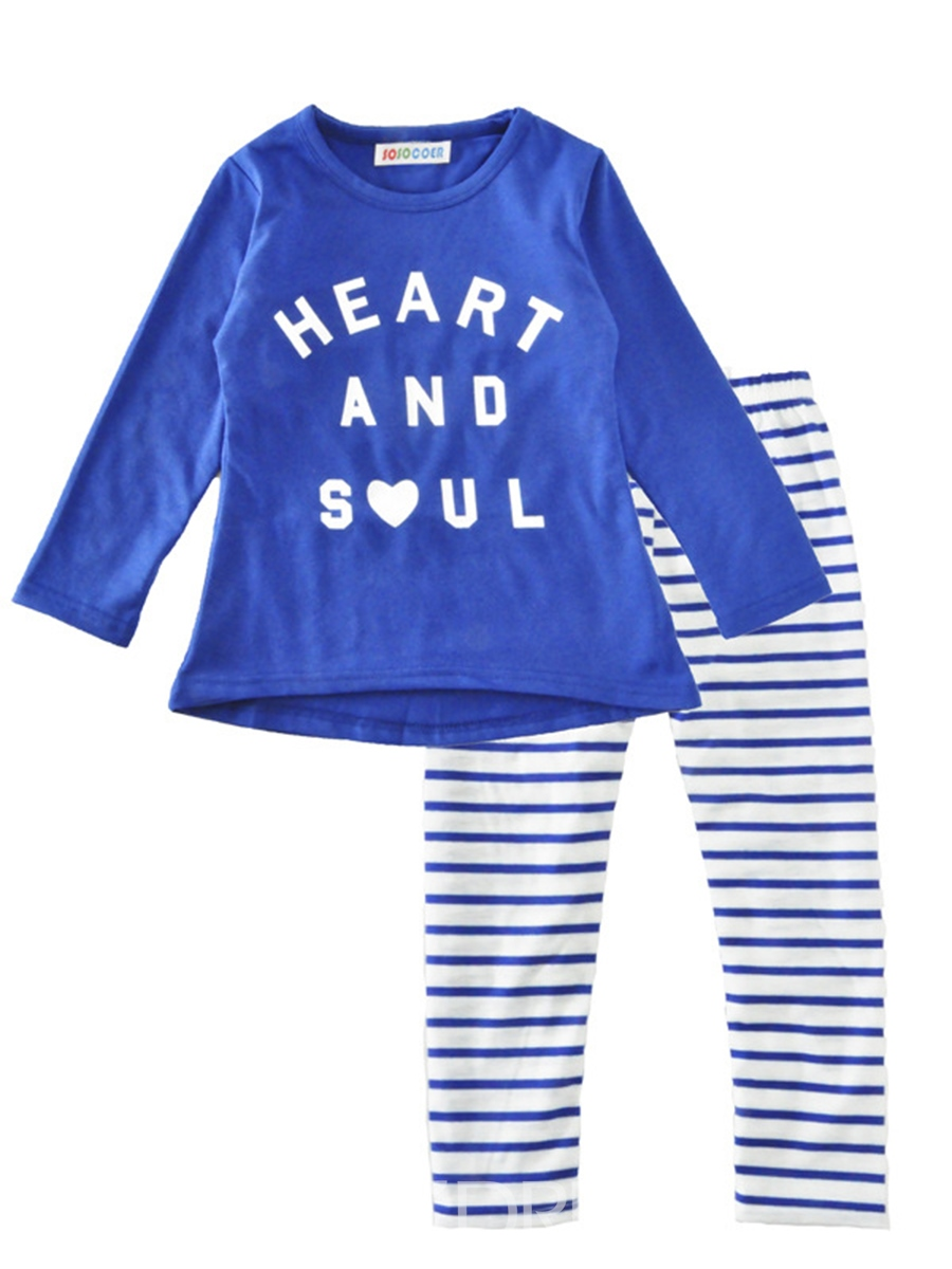 Ericdress Stylish Letter Print Stripe Girl's 2-Pcs Outfit