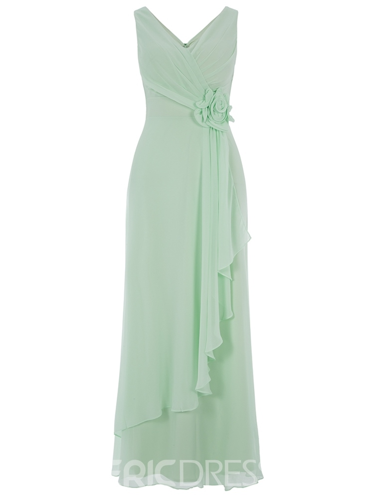 Ericdress A Line V Neck Chiffon Ankle Length Prom Dress