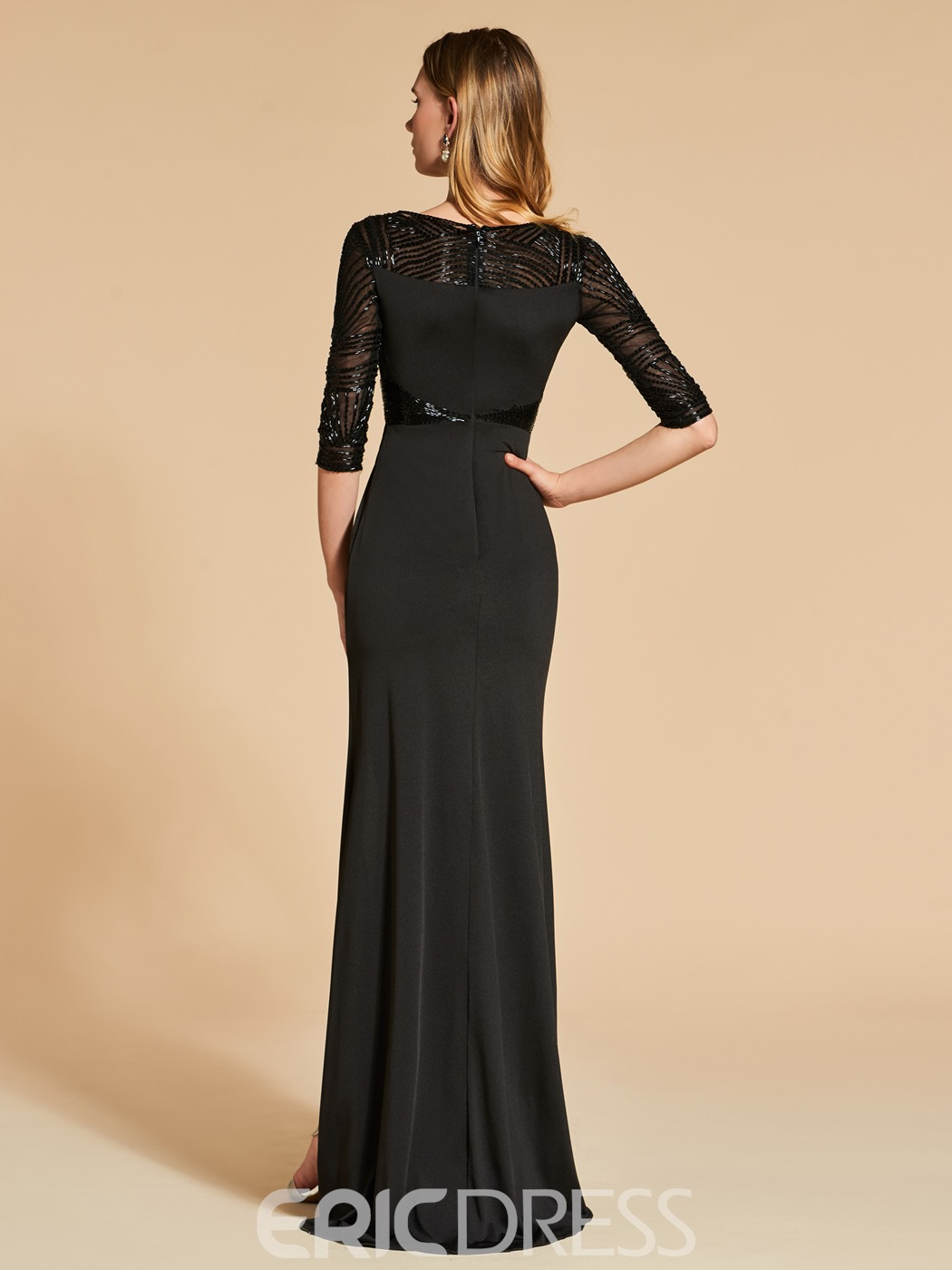 Ericdress Sheath Half Sleeve Beaded Evening Dress