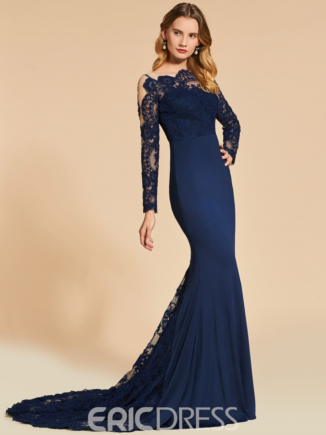 fdb904e9a78 Ericdress Long Sleeve Off The Shoulder Applique Lace Mermaid Evening Dress (13099474)
