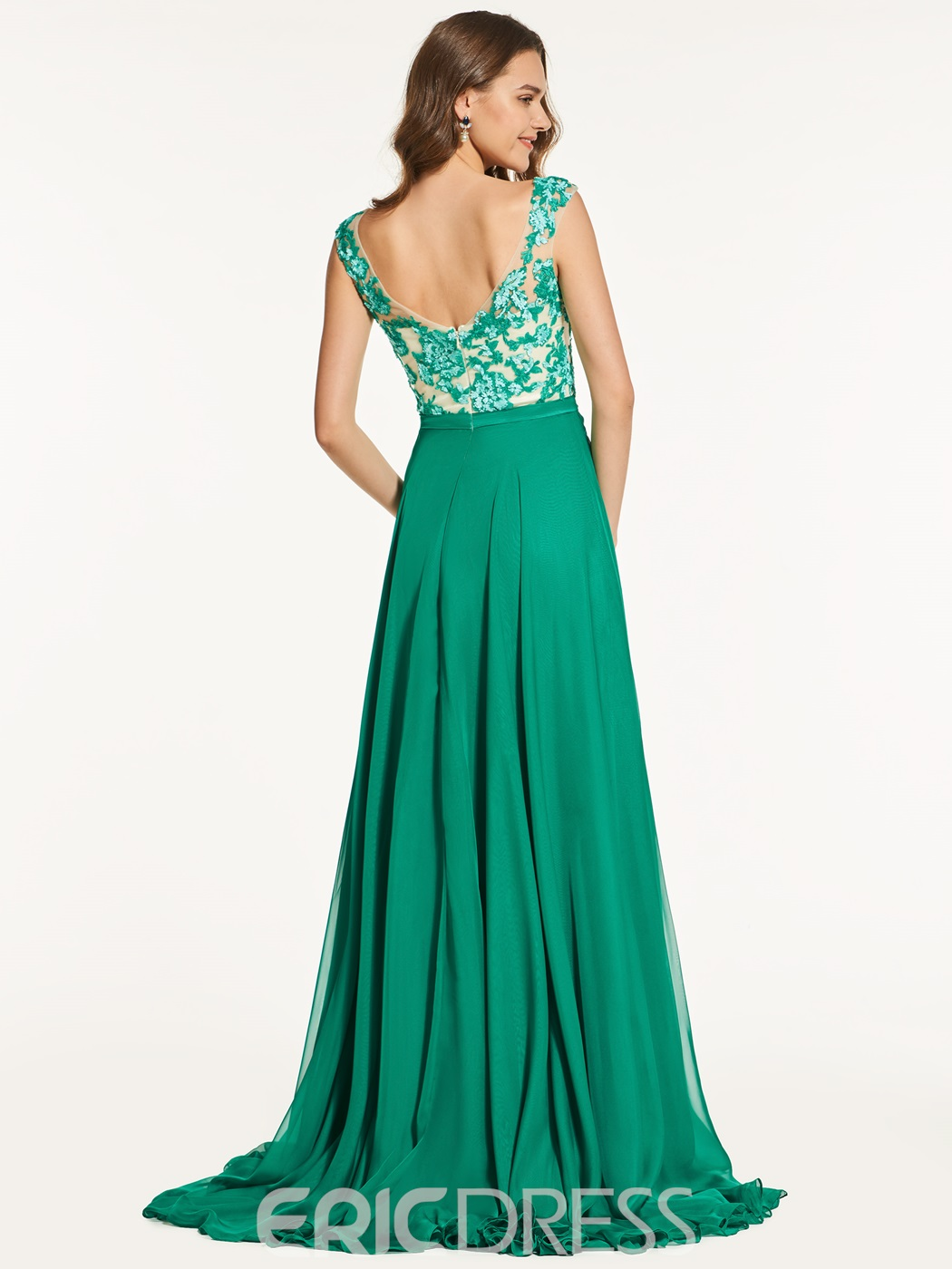 Ericdress A Line Jewel Neck Sequin Applique Long Prom Dress