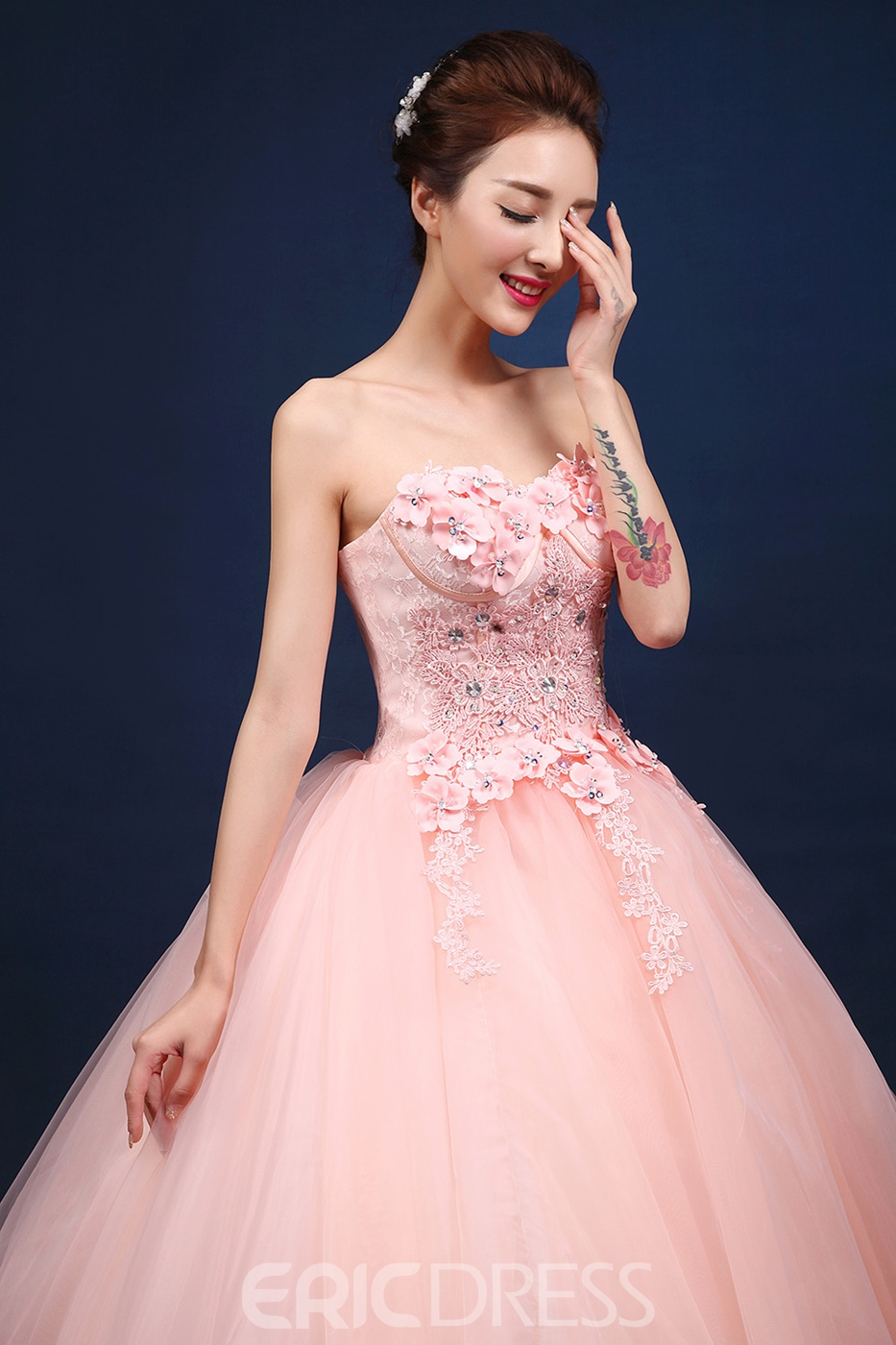 Ericdress Appliques Beading Rhinestone Flowers Quinceanera Dress